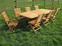 Salons de Jardin en teck brut + 6 chaises + 2 fauteuils