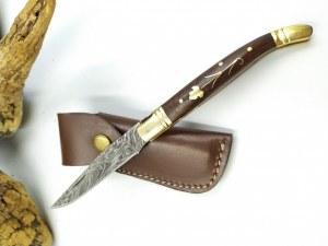 Couteau pliant type Buck lame damas 256 couches MANCHES EN CORNE DE TAUREAU
