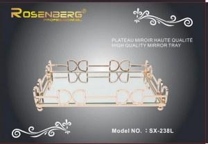 Plateau rectangle métal fond miroir