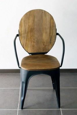 Chaise industrielle vintage métal et bois