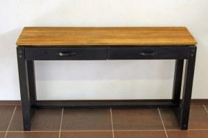 Console bois massif a 2 tiroirs