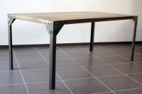Table à manger industrielle acier et bois 180x76