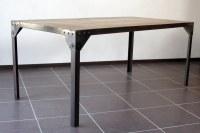 Table à manger industrielle acier et bois 160x90