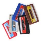 Etui en Silicone Style Cassette pour iPhone 4 - Bleu, noir
