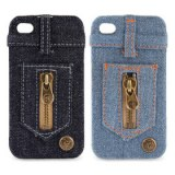 Jean couvercle étui pour iPhone 4 / 4S (fermetures à glissière)