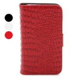 Etui de Protection en Cuir Style Portefeuille en Crocodile pour iPhone 4/4S