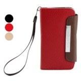 Étui de protection en cuir de style portefeuille avec sangle pour iPhone 4 et 4s