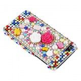 Motif en fleur avec étui diamant de surface coloré dur pour iPhone 5