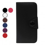 Litchi grains Case en cuir PU pour iPhone 5- Bleu, rouge