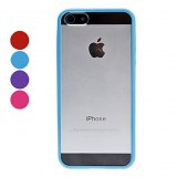 Bord de couleur Transparent Case souple pour iPhone 5- Rose, violet