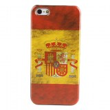 Rétro Type de boîtier espagnol motif drapeau dur pour iPhone 5