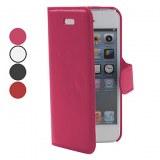 Cross Grain Leather Case Lignes PU pour iPhone 5- Bordeaux, mauve