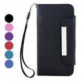 Solide étui en cuir PU Couleur avec fente pour carte pour l'iPhone 5-Marron, bleu