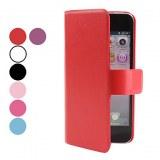 Housse en cuir PU avec fente pour carte pour l'iPhone 5- Blanc, bleu ciel
