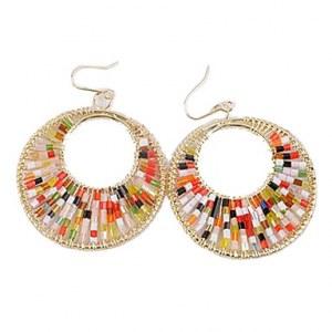 Or rose plaqué perles brillantes couleurs de grandes boucles d'oreilles en alliage de cercle