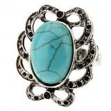 Creux ondulés tranchant Silver Ring réglable Turquoise