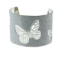 Papillon sculpté bracelet en métal flash