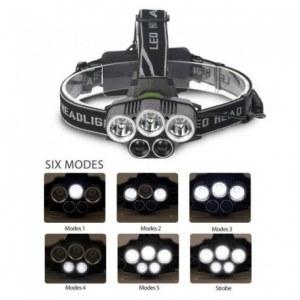 Lot de Lampe Frontale Super Puissante de 8000lm, Phare Rechargeable avec 5 LED