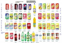 Coca cola , ice tea, orangina , fanta,minute maid .......