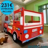 Lit camion de pompier pour enfants LIVRAISON GRATUITE