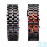 Iron Faceless Red Binary LED Wrist Watch