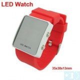 Montre LED mirroir avec bracelet en silicone- Rouge, blanc