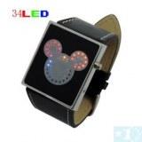 Mignon multicolore 34 LED Binary numérique bracelet en cuir noir