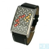 28 Binary LED 3 Color Light Digital Lady Wrist Watch