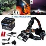 Lampe torche frontale 3 LED avec batterie et chargeur