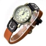 Montre fantaisie retro pour femme, bracelet de cuir