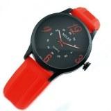 Montre fantaise noir et rouge, bracelet en silicone