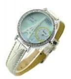 Montre femme de marque Miler, avec bracelet en cuir veritable et cadran tour Eiffel