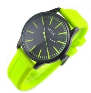 Montre fantaise miler avec bracelet jaune vif. Tres tendance