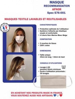 Masque 2 plis en tissus enfant