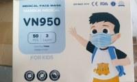 Masque chirurgical médical pour enfant, EN149, bleu, version française