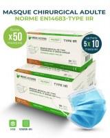 Masque chirurgical TYPE IIR - 5 SACHET DE 10 médical 99% filtration