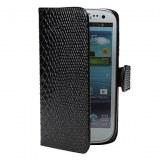 Etui en Cuir PU Style Peau de Crocodile pour Samsung Galaxy S3 i9300 - Noir