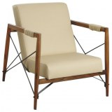 Cinq fauteuils en bois de suar massif & métal