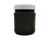 Pots ronds PET Noir 1L col clipbale + couvercle Blanc