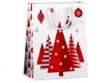 Sac cadeau Nordic Tree 23 x 17,5cm blanc/rouge à partir de 0,70€ HT