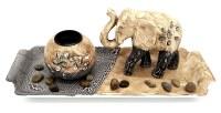 Ensemble Zen éléphant 10cm brun/gris support à bougie votive à partir de 6,13€ HT