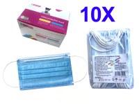 Masque de protection auriculaire 3 plis bleu pour enfant x 10 à partir de 1,69€ HT