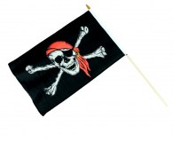 """Drapeau pirate """"Jolly Roger"""" série IV 48 x 31cm avec hampe à partir de 0,95€ HT"""