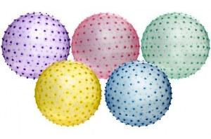 Balle de gymnastique à picots Ø 46cm coloris assortis
