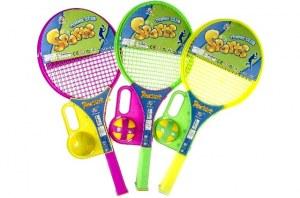 Set de 2 raquettes de tennis ABS + 1 balle coloris assortis