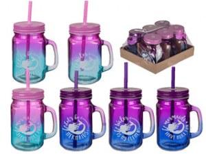 Chope en verre Mason Jar Mermaid 45cl coloris assortis à partir de 0,74€ HT