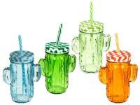 Chope en verre Mason Jar cactus 35cl coloris assortis à partir de 0,74€ HT