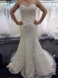 Fabricant magnifique robes de marieé en crêpe, dentelle et perles