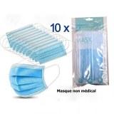 Masque non-médical 3 plis élastiques auriculaires x 10