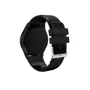 Montre sport connectee bracelet en cuir -Noir